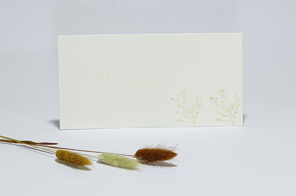 Geboortekaartje met doorgbloemen in folie