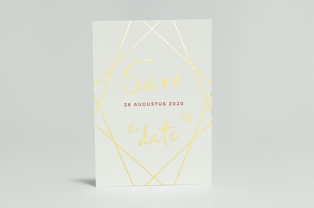 trouwkaart in folie en letterpress