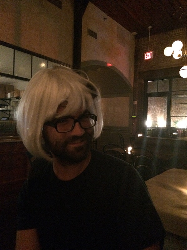 hans wearing wig at Wyatt Brooklyn