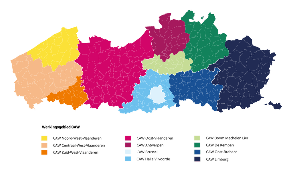 CAW regio's