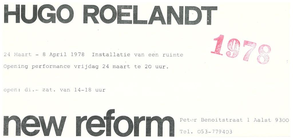 Uitnodiging installatie en performance Hugo Roelandt, New Reform Gallery, Aalst, 1978.