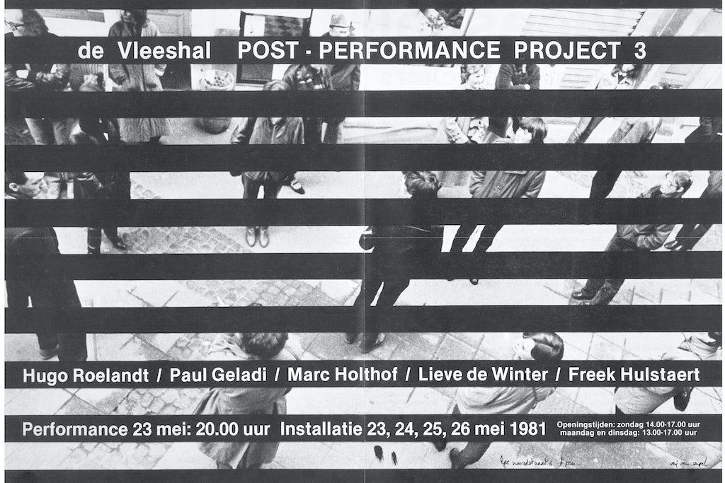 Affiche voor Post-Performance Project 3, Vleeshal Middelburg, Nederland, 1981.