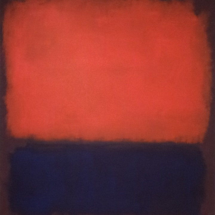An oilpainting featuring a big red area and a big blue area